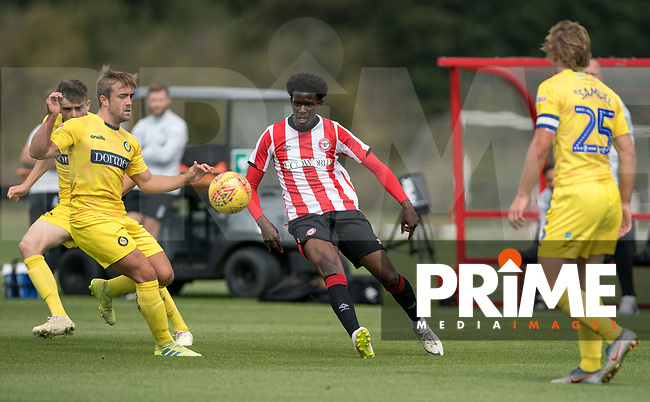 Action during the behind closed doors friendly between Brentford B and Wycombe Wanderers at Brentford Football Club Training Ground & Academy, 100 Jersey Road, TW5 0TP, United Kingdom on 3 September 2019. Photo by Andy Rowland.