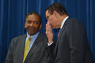 August 7, 2013  (Washington, DC)  D.C. Mayor Vincent Gray (right) chats with Dr. Frank Smith, Director of the African American Civil Museum in the District of Columbia, during a news conference announcing plans for the 50th anniversary March on Washington.  (Photo by Don Baxter/Media Images International)