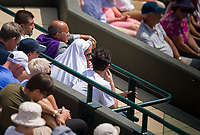 Coach Andre Agassi (with towel) looks on as Novak Djokovic (2) of Serbia is in action against Adam Pavlasek of Czech Republic in their Men&sbquo;&Auml;&ocirc;s Singles Second Round Match today<br /> <br /> Photographer Ashley Western/CameraSport<br /> <br /> Wimbledon Lawn Tennis Championships - Day 4 - Thursday 6th July 2017 -  All England Lawn Tennis and Croquet Club - Wimbledon - London - England<br /> <br /> World Copyright &not;&copy; 2017 CameraSport. All rights reserved. 43 Linden Ave. Countesthorpe. Leicester. England. LE8 5PG - Tel: +44 (0) 116 277 4147 - admin@camerasport.com - www.camerasport.com