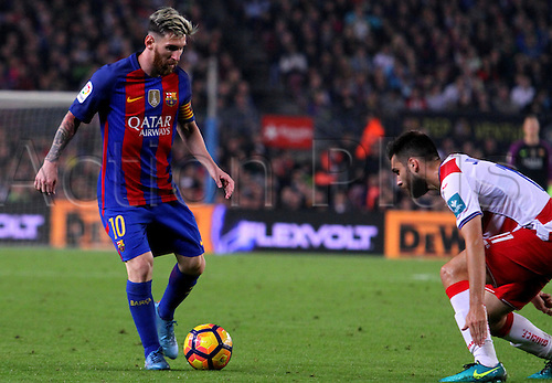 29.10.2016 Barcelona. La Liga football league.  Leo Messi takes on Nunes Vezo during the league game between FC Barcelona against Granada CF at camp nou