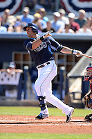 Tampa Bay Rays third baseman Evan Longoria (3) hits a home run during a spring training game against the Minnesota Twins on March 2, 2014 at Charlotte Sports Park in Port Charlotte, Florida.  Tampa Bay defeated Minnesota 6-3.  (Mike Janes/Four Seam Images)