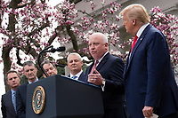 Thomas Moriarty, Executive Vice President of CVS Health, speaks during a news conference with United States President Donald J. Trump, United States Vice President Mike Pence, members of the Coronavirus Task Force, and Industry Executives, in the Rose Garden at the White House in Washington D.C., U.S., on Friday, March 13, 2020.  Trump announced that he will be declaring a national emergency in response to the Coronavirus.  Credit: Stefani Reynolds / CNP/AdMedia