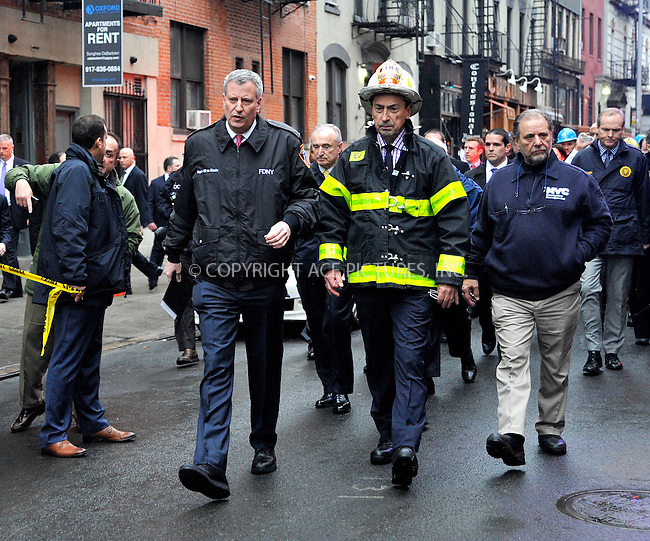 WWW.ACEPIXS.COM<br /> <br /> March 26 2015, New York City<br /> <br /> Mayor Bill de Blasio held a press conference at the site of the building explosion on 2nd Avenue on March 26 2015 in New York City<br /> <br /> By Line: Curtis Means/ACE Pictures<br /> <br /> <br /> ACE Pictures, Inc.<br /> tel: 646 769 0430<br /> Email: info@acepixs.com<br /> www.acepixs.com