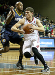 SIOUX FALLS, SD - NOVEMBER 22: Tyler Johnson #10 from the Sioux Falls Skyforce drives against Patrick Christopher #19 from the Iowa Energy in the first quarter of their game Saturday night at the Sanford Pentagon. (Photo by Dave Eggen/Inertia)