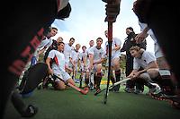 The Hamilton team celebrates winning the Rankin Cup boys hockey final match between  Westlake Boys' High School and Hamilton Boys' High School at National Hockey Stadium, Wellington, New Zealand on Friday, 6 September 2013. Photo: Dave Lintott / lintottphoto.co.nz