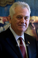 Serbian President Tomislav Nikolic.Pope Francis  Serbian President Tomislav Nikolic during a private audience at the Vatican on September 11, 2015.