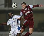Picture by David Horn/Extreme Aperture Photography +44 7545 970036.18/02/2013.Mark Haines (right) of Chelmsford City and Saha Kabba (left) of Havant & Waterville challenge for the ball during the Blue Square Bet Blue Square South  League match at Melbourne Stadium, Chelmsford, Essex.