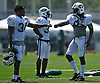 Lucky Whitehead #8, right, fist bumps teammate Marcus Murphy #34 during New York Jets Training Camp at Atlantic Health Jets Training Center in Florham Park, NJ on Tuesday, Aug. 1, 2017.