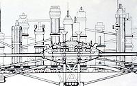Archigram Architects:  Ron Herron & Warren Chalk--Monorail Interchange, Section 1963.  Photo '77.