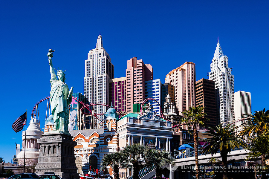 United States, Nevada, Las Vegas Strip. New York-New York. The architecture is meant to evoke the New York City skyline.