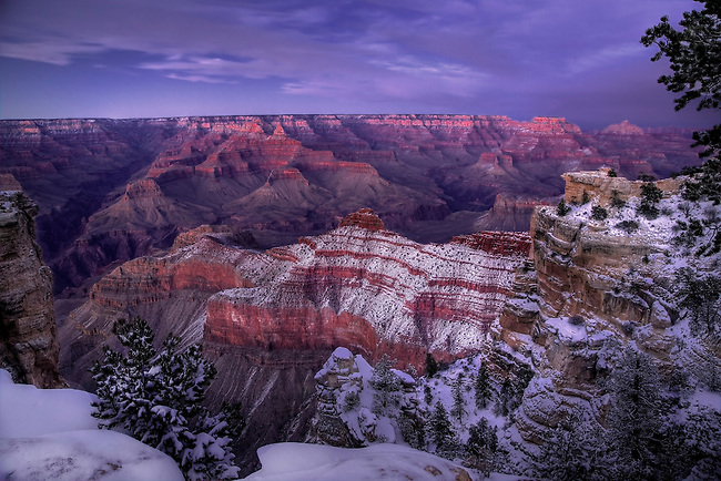 Fresh snow has fallen along the South Rim of the Grand Canyon at Grand Canyon National Park, Arizona