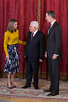 King Felipe VI of Spain (r) and Queen Letizia of Spain (l) receive Palestinian President Mahmoud Abbas. May 24 ,2017. (ALTERPHOTOS/Pool) /NortePhoto.com