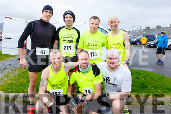 The Kerry Crusaders running in the Kerins O'Rahillys GAA Club 10k/5k race at the clubhouse on Sunday.<br /> Kneeling: Donal White, Robert and Andrew Purcell. Standing l to r: Donal Dee, John Heaphy, David Toomey, Fozzy Forestal.