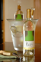 A bottle of Koshu wine that is being developed by Monsiour Dubourdieu.  Koshu is a new Japanese wine designed to be drank with Japanese cuisine.