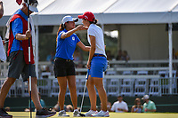 Carlota Ciganda (ESP) congratulates Gina Kim (a)(USA) following round 4 of the 2019 US Women's Open, Charleston Country Club, Charleston, South Carolina,  USA. 6/2/2019.<br /> Picture: Golffile | Ken Murray<br /> <br /> All photo usage must carry mandatory copyright credit (© Golffile | Ken Murray)