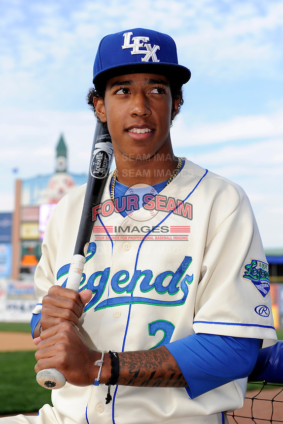 Lexington Legends shortstop Raul Mondesi #2 poses for a photo before a game against the Greenville Drive on April 18, 2013 at Whitaker Bank Ballpark in Lexington, Kentucky.  Lexington defeated Greenville 12-3.  (Mike Janes/Four Seam Images)