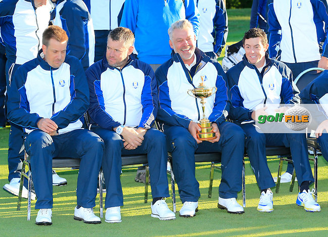 Henrik Stenson, Lee Westwood, Captain Darren Clarke and Rory McIlroy (NIR) European Team photo shoot during Tuesday's Practice Day of the 41st Ryder Cup held at Hazeltine National Golf Club, Chaska, Minnesota, USA. 27th September 2016.<br /> Picture: Eoin Clarke | Golffile<br /> <br /> <br /> All photos usage must carry mandatory copyright credit (&copy; Golffile | Eoin Clarke)