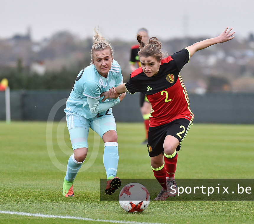20171123 - TUBIZE , BELGIUM : Belgian Davina Philtjens (R) and Russian Korovkina (L) pictured during a friendly game between the women teams of the Belgian Red Flames and Russia at complex Euro 2000 in Tubize , Thursday  23 October 2017 ,  PHOTO Dirk Vuylsteke | Sportpix.Be