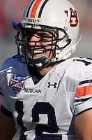 01 January 2007: Auburn quarterback Brandon Cox (#12) warms up before the 2007 AT&T Cotton Bowl Classic between The University of Auburn and The University of Nebraska at The Cotton Bowl in Dallas, TX.