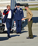 WEST PALM BEACH, FL - FEBRUARY 17: U.S. President Donald J. Trump salute as he arrives on Air Force One at the Palm Beach International airport as they prepare to spend part of the weekend at Mar-a-Lago resort on February 17, 2017 in West Palm Beach, Florida. After touring and meeting with Dennis Muilenburg Chairman of the Board, President, and CEO of the Boeing Company in North Charleston, South Carolina.  President Trump schedule to hold a campaign rally tomorrow at Melbourne Florida. ( Photo by Johnny Louis / jlnphotography.com )