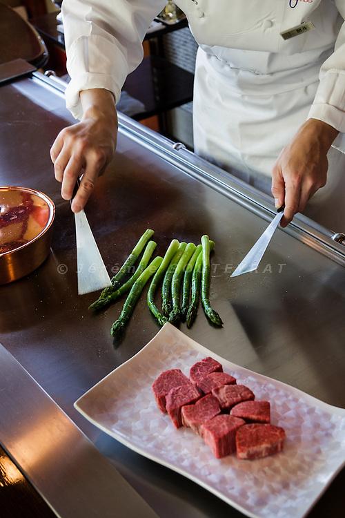 Tokyo, March 26 2015 - At Ukai-tei Omotesando, a teppanyaki restaurant mixing japanese and western food.