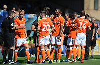 Blackpool players congregate as referee Nicholas Kinseley (not in picture) halts play for a water break<br /> <br /> Photographer Kevin Barnes/CameraSport<br /> <br /> The EFL Sky Bet League One - Wycombe Wanderers v Blackpool - Saturday 4th August 2018 - Adams Park - Wycombe<br /> <br /> World Copyright &copy; 2018 CameraSport. All rights reserved. 43 Linden Ave. Countesthorpe. Leicester. England. LE8 5PG - Tel: +44 (0) 116 277 4147 - admin@camerasport.com - www.camerasport.com