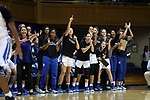 DURHAM, NC - NOVEMBER 30: Duke players on the bench react to a basket by their team. The Duke University Blue Devils hosted the Ohio State Buckeyes on November 30, 2017 at Cameron Indoor Stadium in Durham, NC in a Division I women's college basketball game, and as part of the annual ACC-Big Ten Challenge. Duke won the game 69-60.