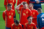 Spain national football players Rodrigo Moreno, Saul NIguez and Thiago Alcantara and technical staff pose with their new jerseys at the 'Ciudad del Futbol' ahead of their World Cup 2018 friendly football match against Costa Rica. November 8,2017.(ALTERPHOTOS/Acero)