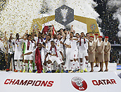 February 1st 2019; Adu Dhabi, United Arab Emirates; Asian Cup football final, Japan versus Qatar;  Players of Qatar celebrate on the podium after winning the final match against Japan by a score of 1-3
