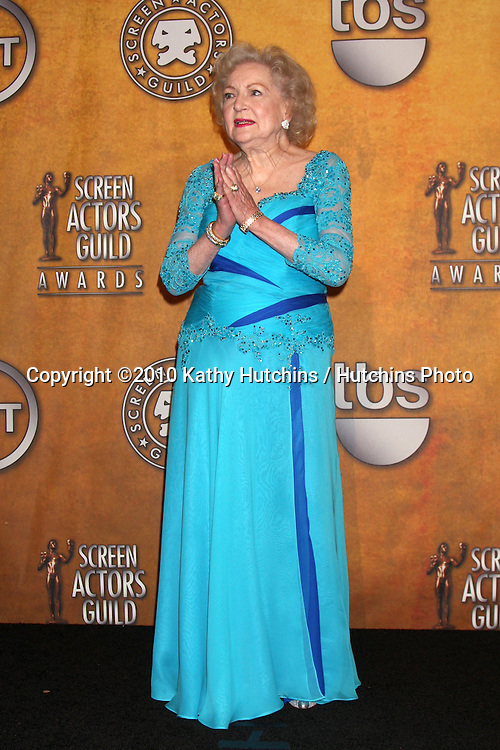 Betty White.in the Press Room at  the 16th Annual Screen Actor's Awards.Shrine Auditorium.Los Angeles, CA.January 23, 2010.©2010 Kathy Hutchins / Hutchins Photo....