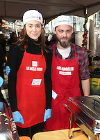 Los Angeles, CA - NOVEMBER 23: Emmy Rossum, Tom Payne, At Los Angeles Mission Thanksgiving Meal For The Homeless At Los Angeles Mission, California on November 23, 2016. Credit: Faye Sadou/MediaPunch