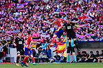 Saul Niguez of Atletico de Madrid (C) fights for the ball with Gonzalo Escalante of SD Eibar (R) during the La Liga match between Atletico Madrid and Eibar at Wanda Metropolitano Stadium on May 20, 2018 in Madrid, Spain. Photo by Diego Souto / Power Sport Images