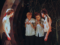 """Yvonne Arnaud Youth Theatre rehearsing """"Lord of the Flies"""" by William Golding.  Mill Theatre, Guildford, Surrey."""