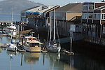 Houseboats at Pier 39 accompanies water craft of all shapes and sizes