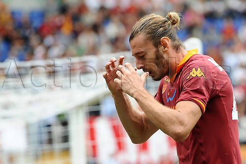 07.10.2012 Rome, Italy Federico Balzaretti of Roma misses a chance in the Serie A clash with Atalanta at the Olympic Stadium, Rome