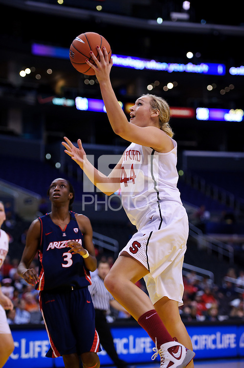 LOS ANGELES, CA - March 11, 2011:  Stanford's Joslyn Tinkle during the semi-final game of the 2011 Pac-10 Tournament game against the Arizona Wildcats at Staples Center.  Stanford won, 100-71.