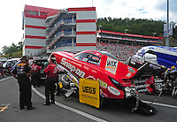 Jun. 17, 2011; Bristol, TN, USA: NHRA funny car driver Cruz Pedregon during qualifying for the Thunder Valley Nationals at Bristol Dragway. Mandatory Credit: Mark J. Rebilas-