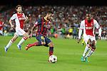 UEFA Champions League 2013/2014.<br /> FC Barcelona vs AFC Ajax: 4-0 - Game: 1.<br /> Dani Alves vs Denswil.
