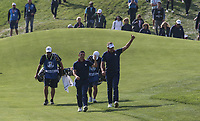 Ian Poulter (Team Europe) soaks up the applause on the 7th during Friday's Foursomes, at the Ryder Cup, Le Golf National, Île-de-France, France. 28/09/2018.<br /> Picture David Lloyd / Golffile.ie<br /> <br /> All photo usage must carry mandatory copyright credit (© Golffile | David Lloyd)