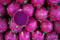 Dragon Fruit for sale. Activities and way of life, around and on the Tonle Sap Lake, Siem Reap area, Cambodia