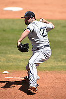 Mobile BayBears pitcher Bryan Woodall (23) delivers a pitch during a game against the Huntsville Stars on April 23, 2014 at Joe Davis Stadium in Huntsville, Tennessee.  Huntsville defeated Mobile 4-1.  (Mike Janes/Four Seam Images)