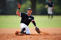 Edgewood College Eagles Peter Perales (7) picks a throw down during the second game of a doubleheader against Western Connecticut Colonials on March 13, 2017 at the Lee County Player Development Complex in Fort Myers, Florida.  Edgewood defeated Western Connecticut 2-1.  (Mike Janes/Four Seam Images)