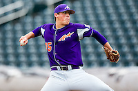 Kyle Lloyd (35) of the Evansville Purple Aces delivers a pitch during a game against the Missouri State Bears at Hammons Field on May 12, 2012 in Springfield, Missouri. (David Welker/Four Seam Images).