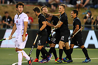 Stephen Jenness scores a goal. Pro League Hockey, Vantage Blacksticks v Belgium. Harbour Hockey Stadium, Auckland, New Zealand. Friday 1st February 2019. Photo: Simon Watts/Hockey NZ