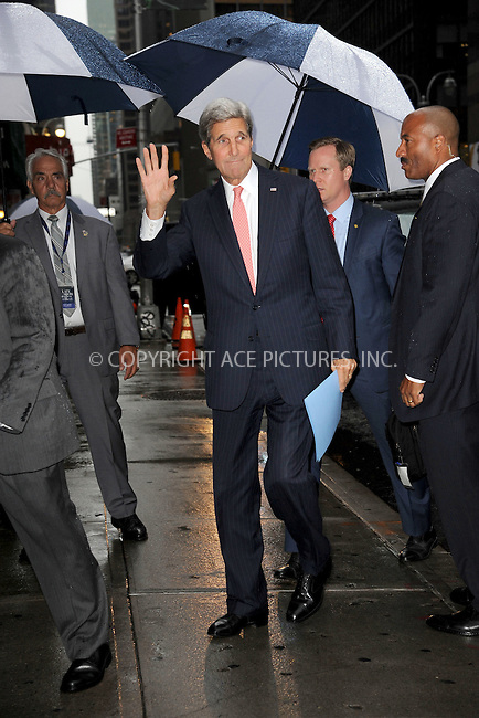WWW.ACEPIXS.COM<br /> October 1, 2015 New York City<br /> <br /> Secretary of State John Kerry arriving to tape an appearance on 'The Late Show With Stephen Colbert' on October 1, 2015 in New York City.<br /> <br /> Credit: Kristin Callahan/ACE <br /> <br /> Tel: (646) 769 0430<br /> e-mail: info@acepixs.com<br /> web: http://www.acepixs.com