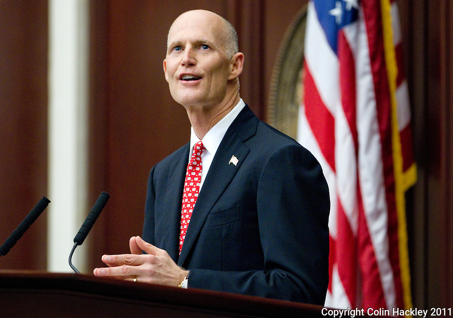 TALLAHASSEE, FLA. 3/8/11-OPENINGDAY030811 CH-Gov. Rick Scott during the State of the State address Tuesday at the Capitol in Tallahassee..COLIN HACKLEY PHOTO
