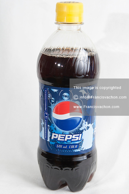 A Pepsi bottle over a white background