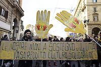 Roma, 13 Dicembre 2014.<br /> Corteo per il diritto alla città contro Mafia e Capitale,contro privatizzazioni,sgomberi, sfratti,distacchi e razzismo.