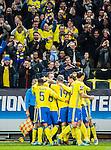 Solna 2015-11-14 Fotboll EM-kval , Sverige - Danmark :  <br /> Sveriges supportrar jublar n&auml;r Emil Forsberg gratuleras av lagkamrater efter sitt 1-0 m&aring;l under matchen mellan Sverige och Danmark <br /> (Photo: Kenta J&ouml;nsson) Keywords:  Sweden Sverige Solna Stockholm Friends Arena EM Kval EM-kval UEFA Euro European 2016 Qualifying Qualifier Playoff Denmark Danmark jubel gl&auml;dje lycka glad happy supporter fans publik supporters