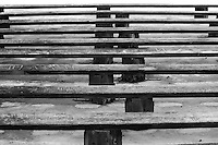 """Fine art black & white stock photo of wooden benches making nice repetitive pattern.<br /> <br /> View the gallery - """"Conceptual - Life & Surroundings"""" for the color version of this image."""